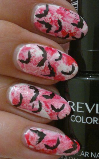 bloody bats nail art