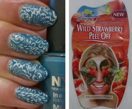blue-floral-nails-wild-strawberry-mask